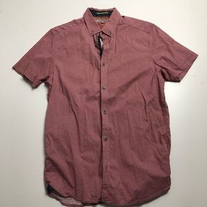 Ted Baker Dress Shirt Short Sleeve Red Size 2